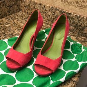 hot pink suede heels